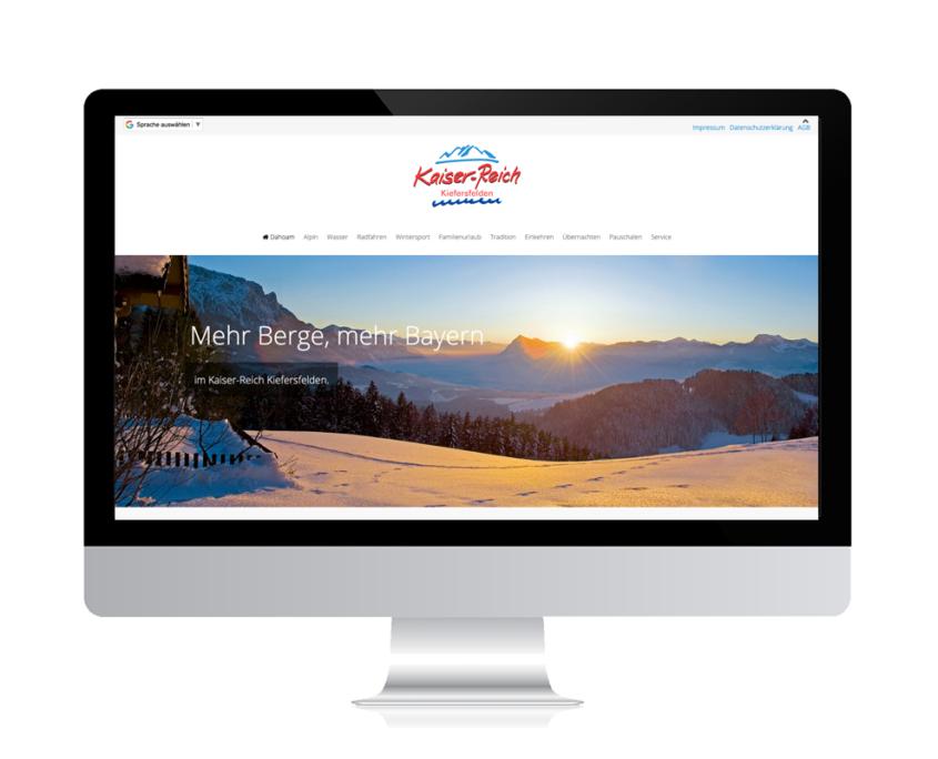 WebDesign Rosenheim Referenz für Urlaubsort auf PC-Bildschirm