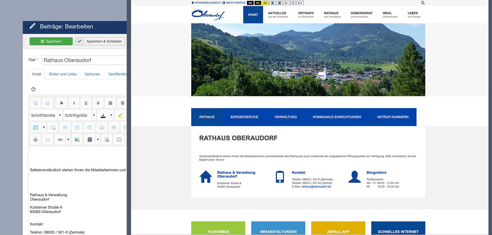 Kommune Oberaudorf: Frontendansicht und Benutzeroberfläche